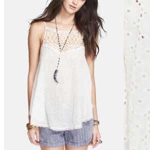 Free People Got My Eyelet On You Lace Tanktop